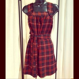 Forever 21 black red plaid pinafore tie dress S